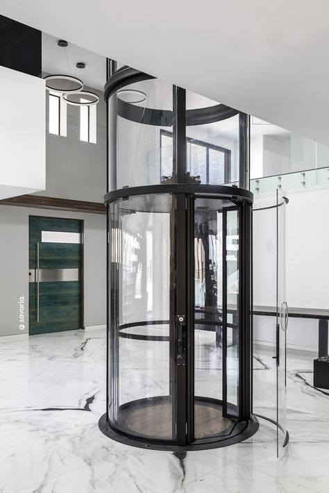 Black Vuelift Round With Cab Gate Open Glass Elevator House Elevator Elevator Ideas Elevator Home Ele Home Stairs Design