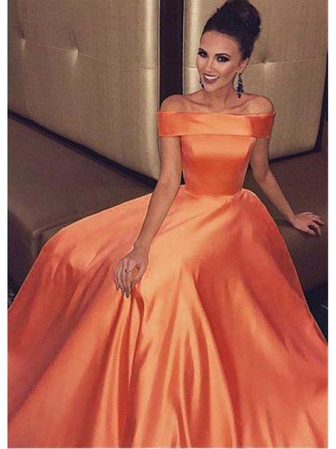 A-Line Off-the-Shoulder Long Prom Dresses Formal Evening Dresses #promdress #orangepromdress #longformaldresses