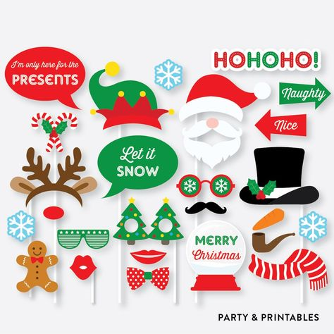 Christmas Photo Booth Props Photo Booth Sign Instant Download