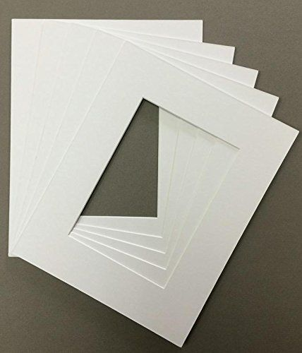 5 Pack of 11x14 Acid Free White Core Picture Mats Cut for 8x10 Pictures in Black