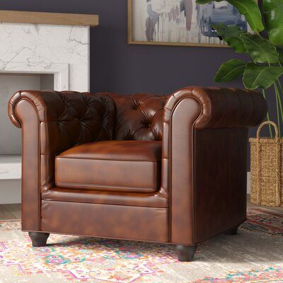 Baronne Chesterfield Chair Fabric Genuine Leather Brown Chair Brown Leather Sofa Chair Fabric