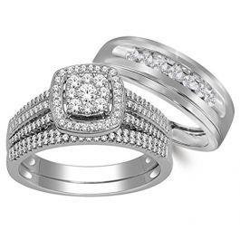 10k White Gold His And Her Rings Trio Wedding Rings Set 3 4ctw Diamonds I2 I3 I J Wedding Ring Trio Sets Wedding Ring Sets Cool Wedding Rings