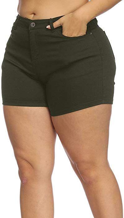 20a2a1231f Allegrace Women Plus Size High Rise Denim Shorts Summer Casual ...