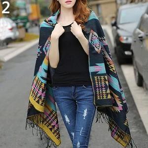 Women Boho Long Sleeve Acrylic Wool Wrap Cardigan Jacket Cape Hooded Shawl Aztec