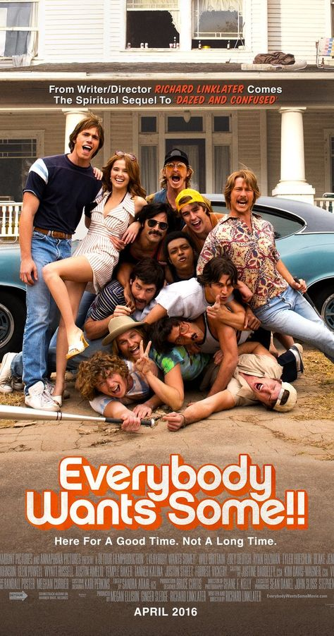 Directed by Richard Linklater.  With Zoey Deutch, Tyler Hoechlin, Blake Jenner, Glen Powell. A group of college baseball players navigate their way through the freedoms and responsibilities of unsupervised adulthood.
