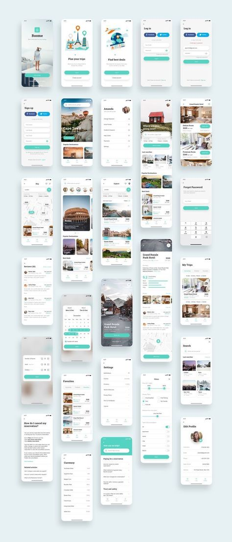 Roome Hotel Booking App UI Kit — UI Place