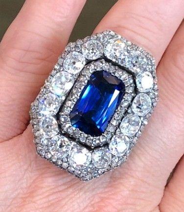 Large Sapphire And Diamond Ring Jewelry Rings Diamond Vintage