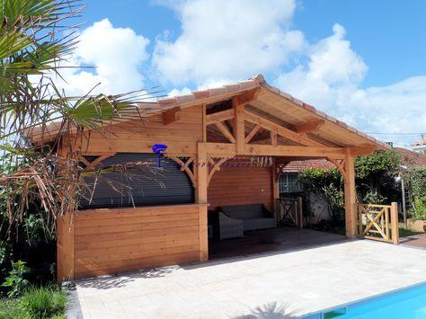 cuisine d'été ou pool house, ossature bois du coté d'arcachon