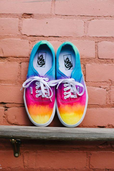 tie dye custom vans chaussures