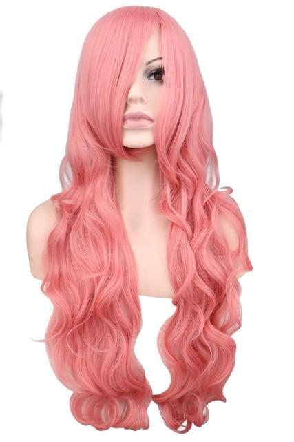 LONG WIG RED BROWN BLACK WHITE BLUE BLONDE PINK