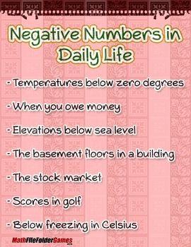 Real Life Examples Of Integers Integer Activity By Mathfilefoldergames Teachers Pay Teachers Integers Activities Integers Life