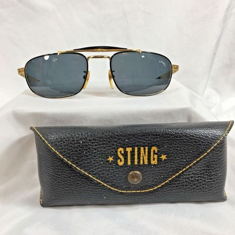 60742c14d 80s STING Pilot Sunglasses VTG Gold Tone Made in Italy Mod 4060 COL 101 # Sting #Pilot #Casual