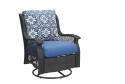 Backyard Creations Allenwood Deep Seating Swivel Glider Patio Chair In Blue Patio Chairs Backyard Creations Deep Seating