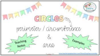 Perimeter Circumference And Area Of A Circle Area Of A Circle