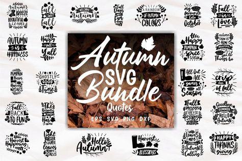 Autumn SVG Craft Quotes Slogans Bundle PNG Lettering (1157408)   Hand Lettered   Design Bundles
