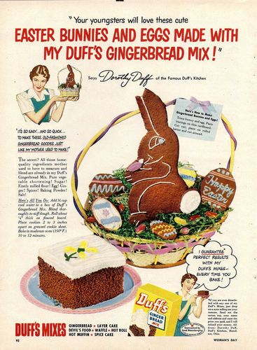 1951 Duffs Gingerbread Ad Easter Bunny  | eBay