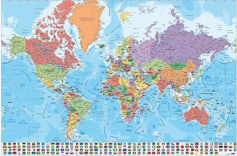 Weltkarte Poster Mit Flaggen Weltkarte Poster Weltkarte Und