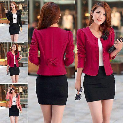 2014 Moda para mujer Candy Color básico Slim Plegable Traje Chaqueta Blazer  4 Tamaños 28d2f493450
