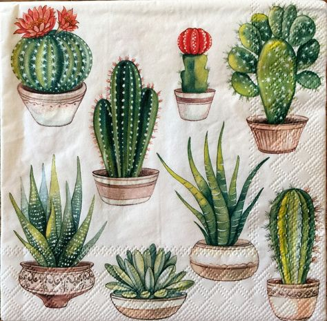 Decoupage Napkins,4+1 FREE Single  Paper Napkins, CACTUS, 13 inches (33cm) for Decoupage, Paper-Craft and Collage by kroshkame on Etsy