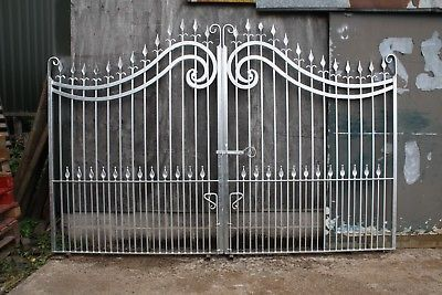 Galvanized Double Wrought Iron Driveway Gates 12 Ft Opening Wrought Iron Driveway Gates Fence Gate Design Driveway Gate