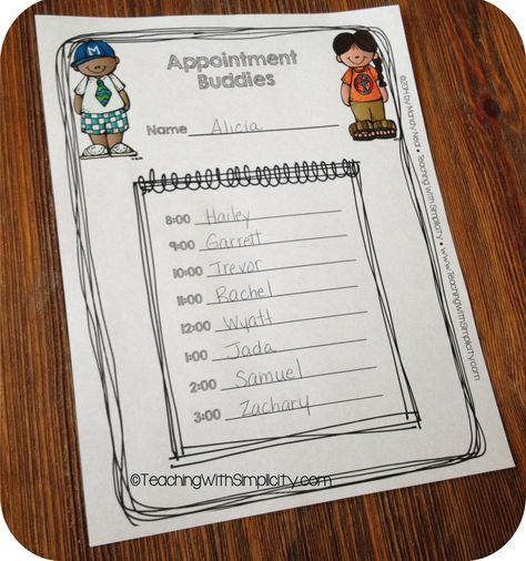 Appointment Buddies, a cooperative learning and differentiated instruction activity.