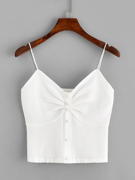 Button Front Ruched Detail Rib-knit Cami Top | SHEIN