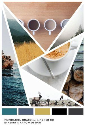 Indie color inspiration board - Turquoise, Blue, Mustard, and gray