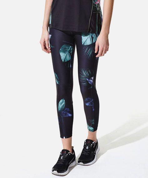 Legginsy W Kwiaty Z Polaczenia Materialow Oysho Floral Print Leggings Outfits With Leggings Fashion