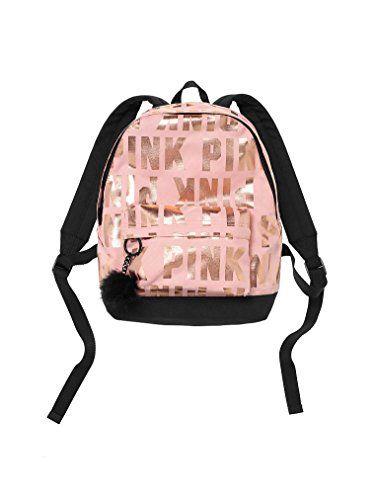Victorias Secret PINK Backpack Mini Rose Gold Black Bag Metallic School