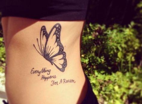 modele tatouage, art corporel pour femme, dessin papillon volant avec citation #quotetattoos