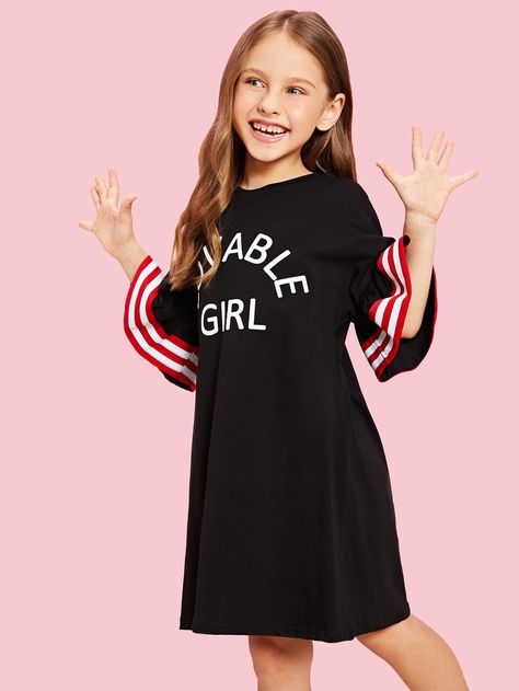 e94abc493fcc Girls Flounce Sleeve Striped and Letter Dress Sleeve#Flounce#Girls