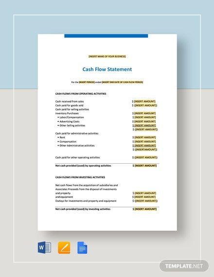 Cash Flow Statement Template Word Doc Apple Mac Pages Google Docs Cash Flow Statement Statement Template Cash Flow