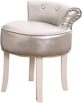 Comfortable Chair European Cushioned Vanity Stool Makeup Seat With Nailhead Trim Lounge Stool With Solid Wood Legs B In 2020 Comfortable Chair Vanity Stool Wood Legs