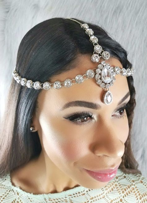 Silver head chain with crystals. Head chain adjusts for the perfect fit.