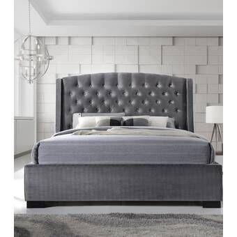 Honora Upholstered Bed Frame Upholstered Bed Frame Grey Bed