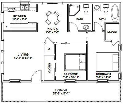 Details about 28x36 House -- 2 Bedroom 2 Bath -- 1,008 sq ft
