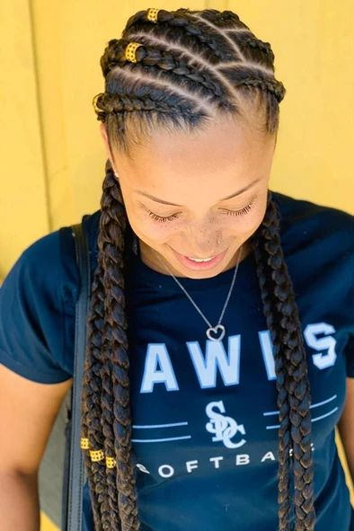 Stitches and parts cornrowbraids braids looking for cornrows braids for black women these straight back cornrows big braided updo side braided hairstyle and lots of cool hairdos will make you look like goddesses lovehairstyles haircolor hairstyles Braided Hairstyles For Black Women Cornrows, Feed In Braids Hairstyles, Frontal Hairstyles, Braided Updo, Hairdos, Black French Braid Hairstyles, Hairstyles For Black Kids, Braided Mohawk Black Hair, Bob Hairstyles