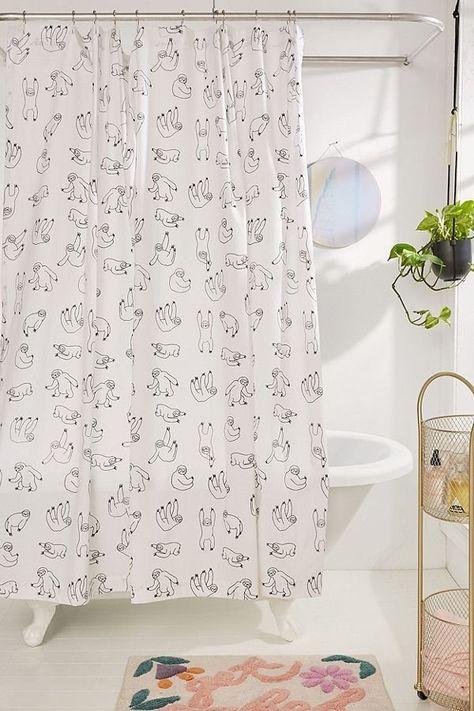 Sloths Shower Curtain Funny Shower Curtains Curtains Bathroom