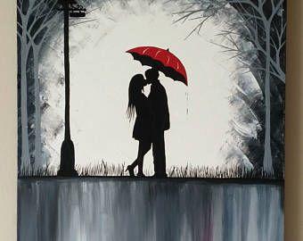Paar mit Regenschirm Romantik Malerei küssen im Regen