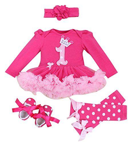 1c42827ca03eb Baby Girls Newborn Outfit 4PCS Bodysuit 1st Birthday Tutu Headband ...
