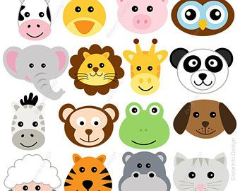 Animal Faces Clipart Cute Farm Animals Clip Art Animal Clipart Barn Clipart Jungle Animals Digital Clip Animal Crafts For Kids Animal Clipart Animal Faces