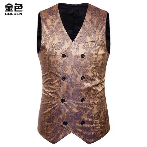 Autumn Vintage Vest Men Slim Fit Vests&Waistcoats Double Breasted Waistcoat Mens Vest Formal Party Suit Vests Clothes