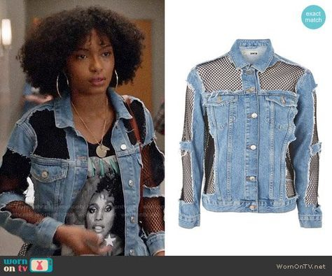 Zoey's distressed denim jacket with mesh panels on Grown ish