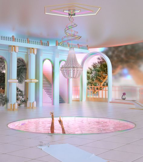 Select explorations in architecture, anatomy, and digital painting during the first quarter of 2018 Aesthetic Rooms, Aesthetic Art, Aesthetic Pictures, Interior Architecture, Interior And Exterior, Pink Lila, Usa Tumblr, Retro Futurism, Dream Rooms