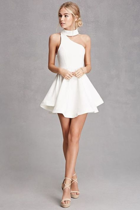 graduation dress white homecoming dress one shoulder prom dress halter neck party dress sexy evening dress