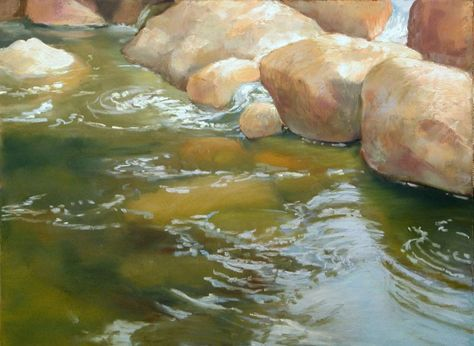 how to paint water | ... how to paint rocks under water. It's on gray Pastelmat, 9x12
