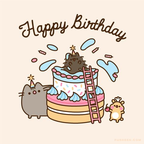 Pusheen Happy Birthday, Cute Happy Birthday, Birthday Cartoon, Disney Birthday, Cat Birthday, Birthday Wishes, Happy Birthday Drawings, Candy Bar Posters, 50th Birthday Quotes