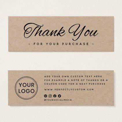 Kraft Paper Business Logo Thank You Insert Card Zazzle Com Thank You Card Design Business Thank You Notes Business Thank You Cards