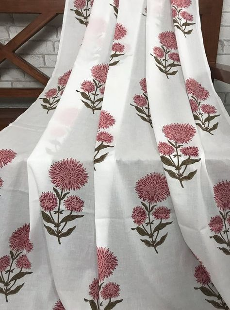 Off White Cotton Fabric, Block Print Cotton Floral Print, Dress Fabric, Indian fabric By Yard, Pure