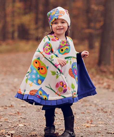 Look at this Cozy Gozy Ivory & Purple Owl Travel Cape & Hat - Toddler on #zulily today!